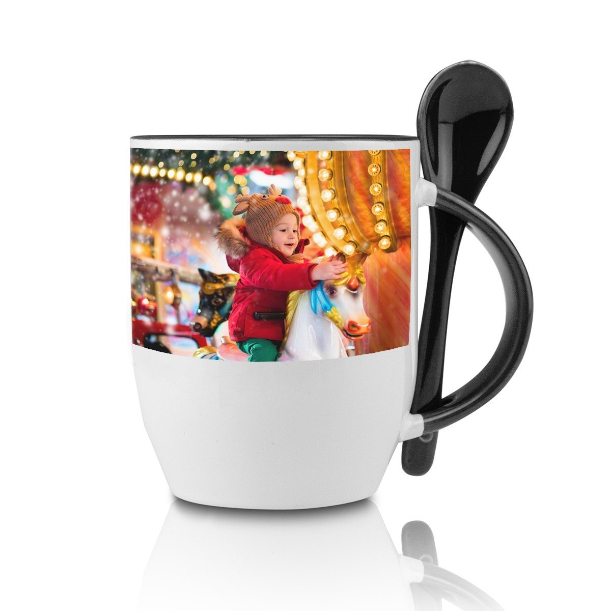 BLACK SPOON CUP WITH PHOTO PRINT