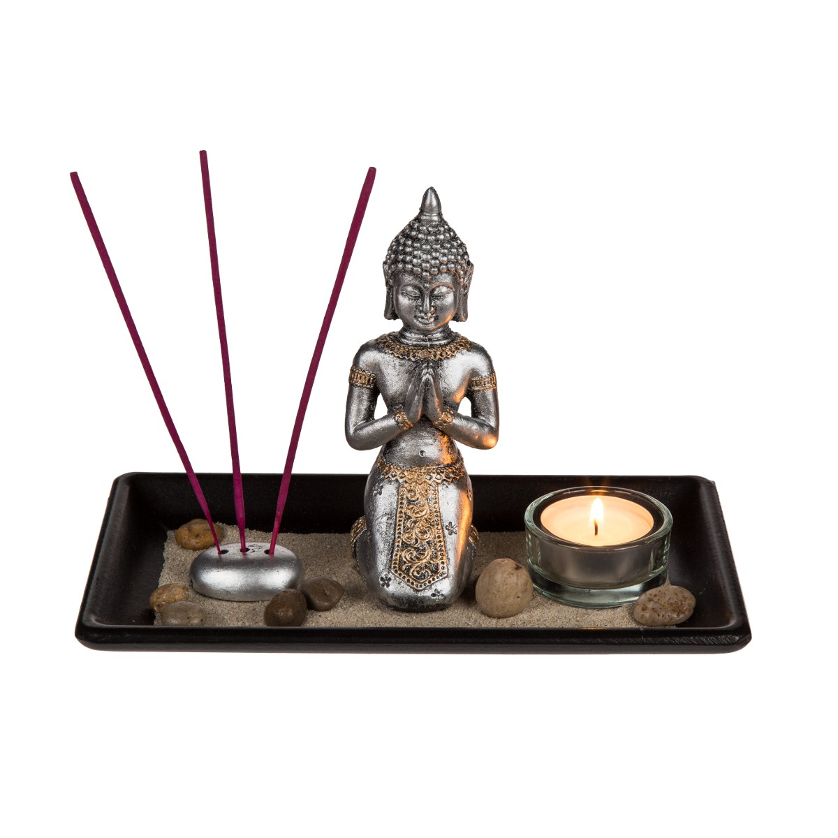deko set buddha mit zubeh r auf holz tablett. Black Bedroom Furniture Sets. Home Design Ideas