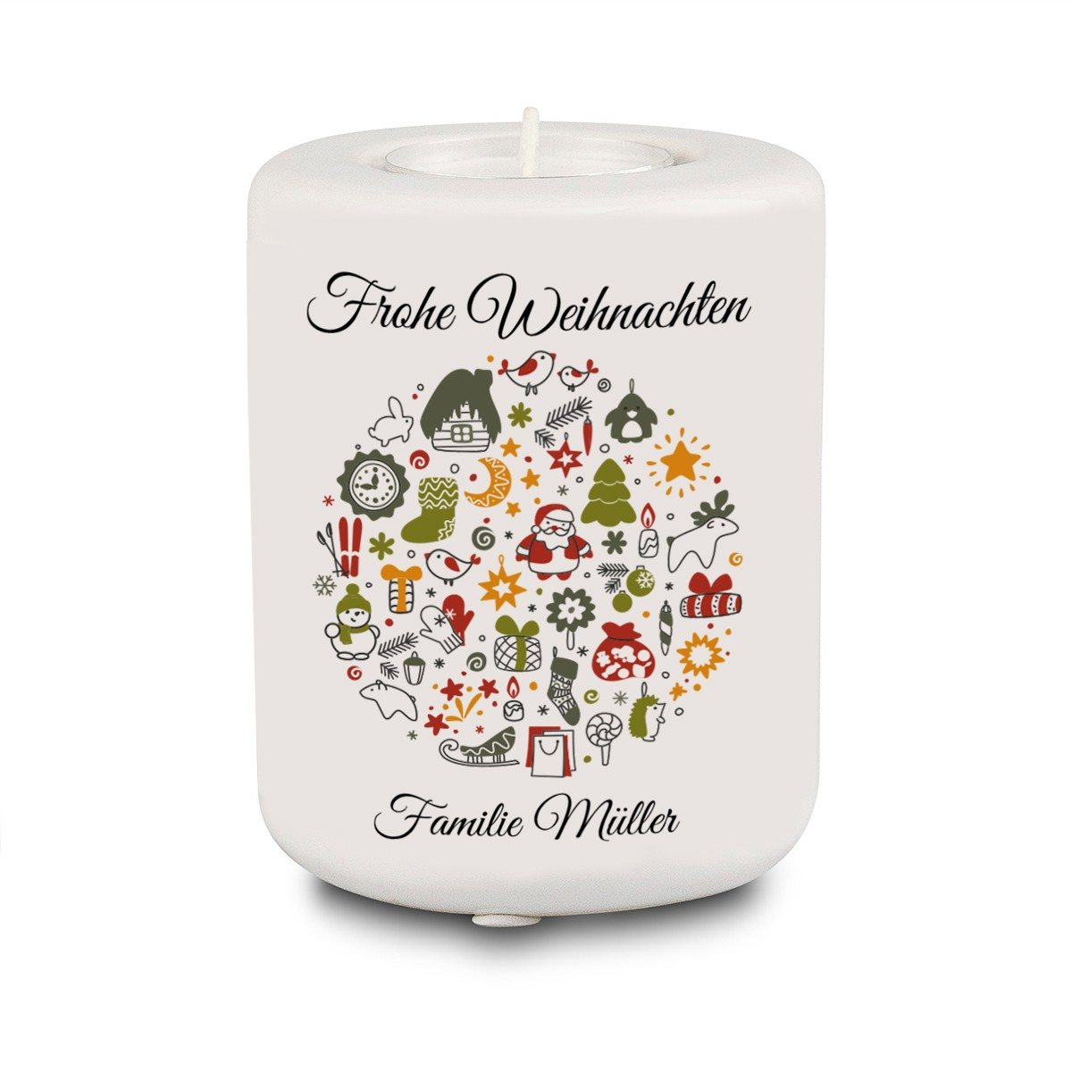 PERSONALIZED TEA CANDLE HOLDER WITH CHRISTMAS DESIGN