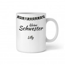 "PERSONALIZED CUP WITH GARLAND ""LITTLE SISTER"""