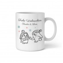 PERSONALIZED PENGUIN COUPLE CHRISTMAS CUP