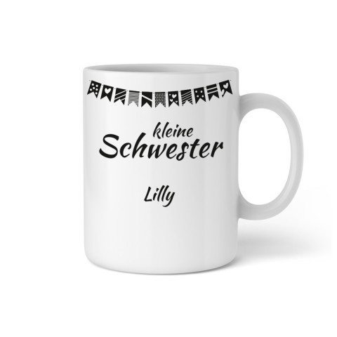 """PERSONALIZED CUP WITH GARLAND """"LITTLE SISTER"""""""